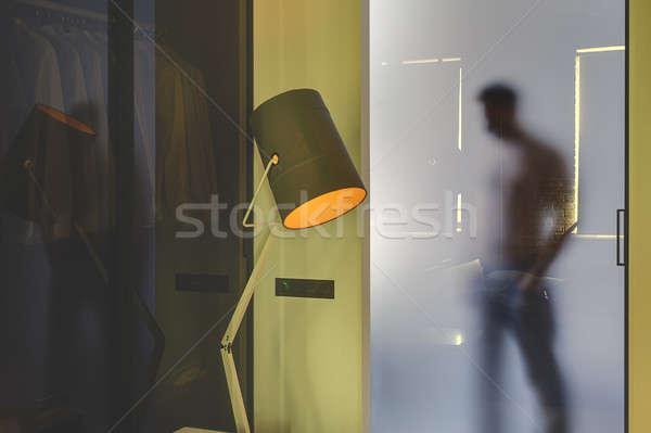 Silhouette style moderne intérieur derrière vitreux Photo stock © bezikus