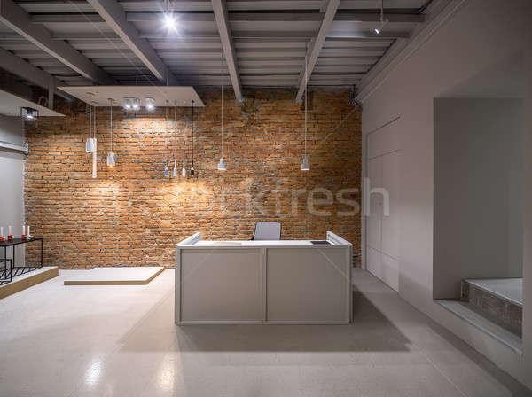 Interior sótão estilo escritório tijolo cinza Foto stock © bezikus