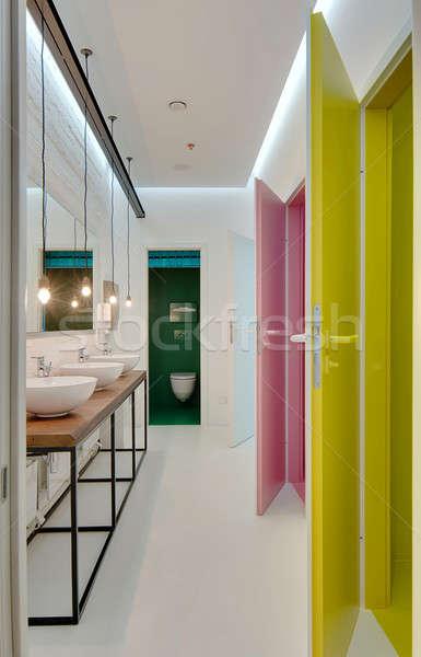 туалет современный стиль белый стен Сток-фото © bezikus