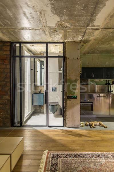 Grenier style intérieur minable brique murs Photo stock © bezikus