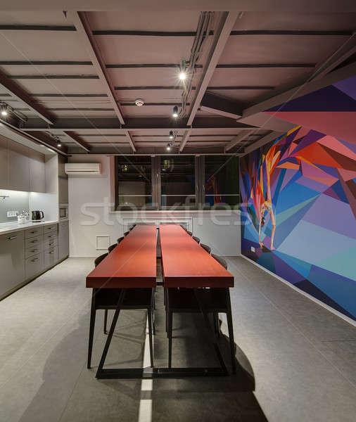 Iroda padlás stílus konyha lámpák színes Stock fotó © bezikus