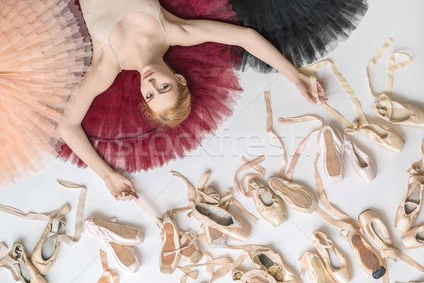 Stockfoto: Blond · ballerina · studio · kleurrijk