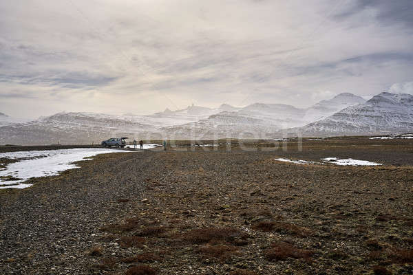 пейзаж долины группа туристических автомобилей снега Сток-фото © bezikus