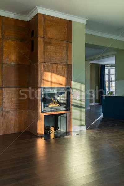 Sala stile moderno stanza verde muri piano Foto d'archivio © bezikus