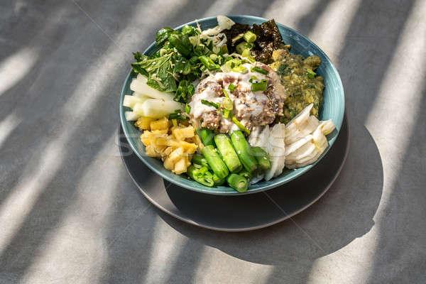 Egzotik gıda çanak sebze mavi Stok fotoğraf © bezikus