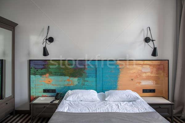 Stock fotó: Elegáns · hotelszoba · gyönyörű · szoba · hotel · fény