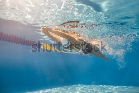 Swimmer in back crawl style underwater Stock photo © bezikus