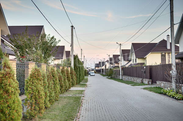Street in modern cottage town Stock photo © bezikus