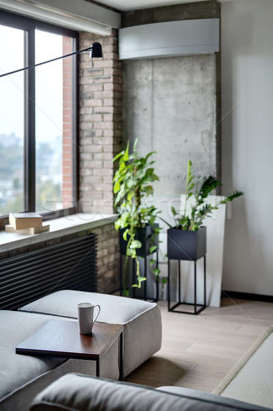 Stockfoto: Interieur · vliering · stijl · kamer · baksteen · beton
