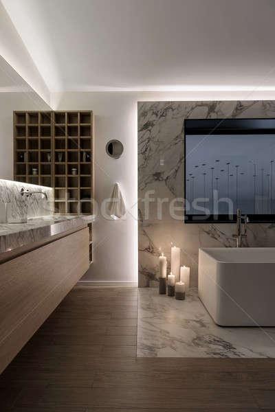 élégant modernes salle de bain blanche mur étage Photo stock © bezikus