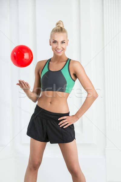 Estudio retrato bastante rítmico gimnasia rojo Foto stock © bezikus