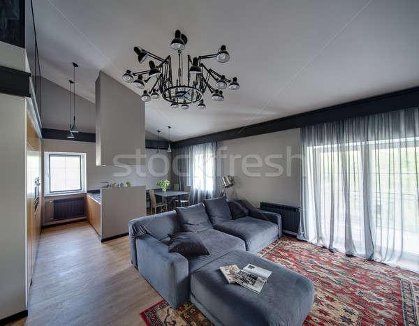 интерьер современный стиль современный серый стен красный ковер Сток-фото © bezikus