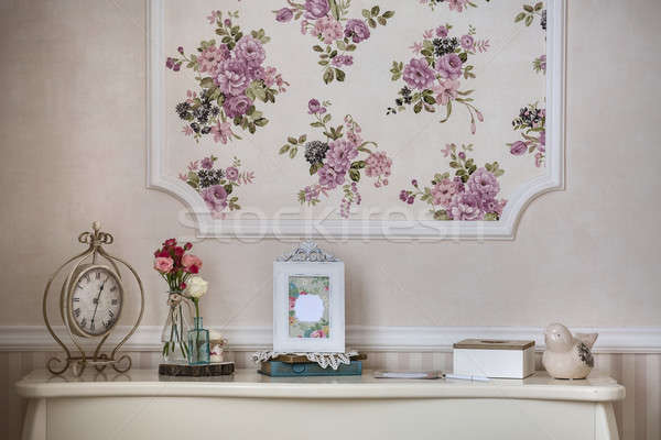 Shelf with home decor in the style of provence Stock photo © bezikus