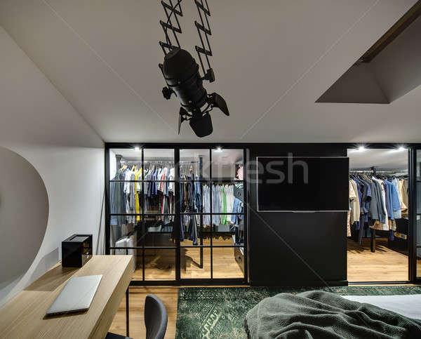 Modern style glowing bedroom Stock photo © bezikus