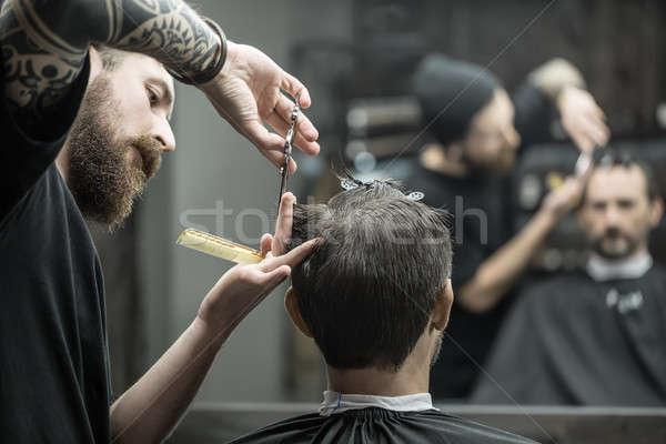 волос парикмахера большой борода клиент Сток-фото © bezikus