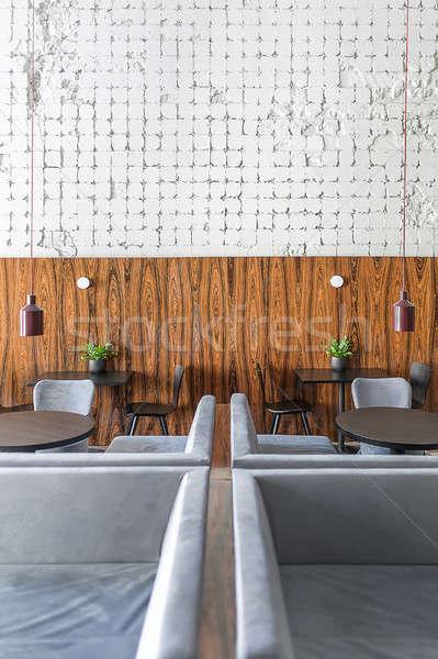 Kávézó padlás stílus étterem rongyos fehér Stock fotó © bezikus