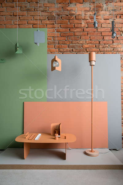 Iç çatı katı stil renkli mobilya tuğla duvar Stok fotoğraf © bezikus