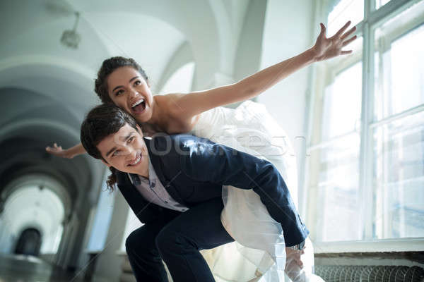 Young couple fooling around.  Stock photo © bezikus