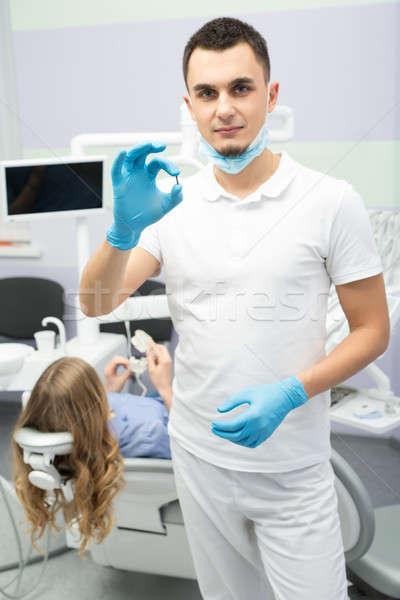 歯科 歯科 ハンサム 白 ユニフォーム 青 ストックフォト © bezikus