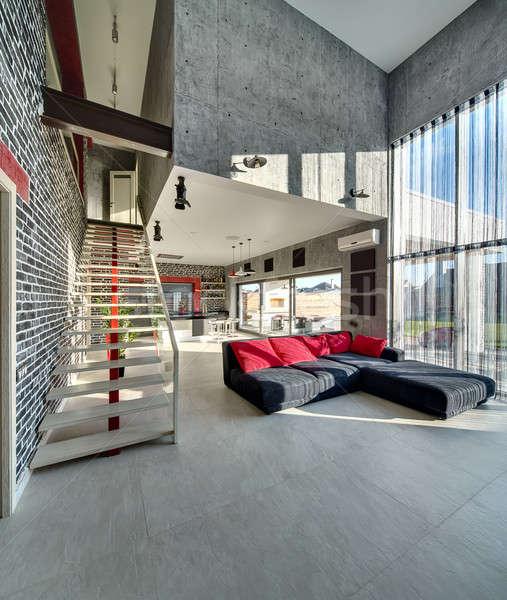Stockfoto: Stijlvol · moderne · interieur · moderne · stijl · beton · baksteen