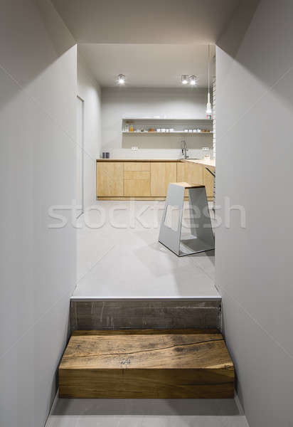 キッチン ロフト スタイル 入り口 木製 グレー ストックフォト © bezikus