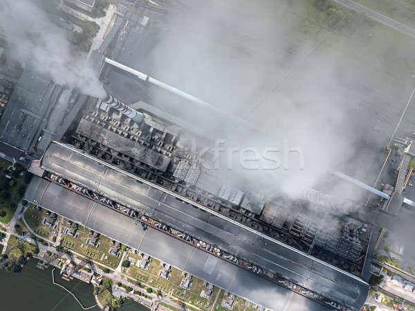 Centrale électrique travail charbon carburant haut vue Photo stock © bezikus