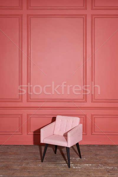 Szép puha rózsaszín fotel stúdió elegáns Stock fotó © bezikus