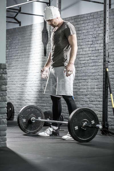 Crossfitの トレーニング バーベル かわいい 男 あごひげ ストックフォト © bezikus