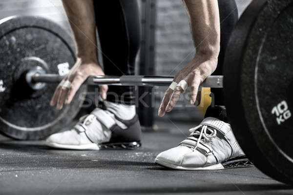 Treningu sztanga piętrze ręce nogi Zdjęcia stock © bezikus
