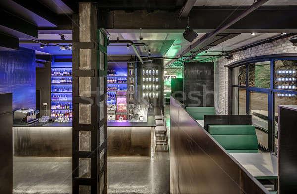 Restaurant grenier style bar brique concrètes Photo stock © bezikus