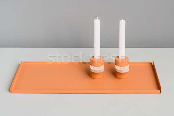 Metal orange support and candlesticks Stock photo © bezikus