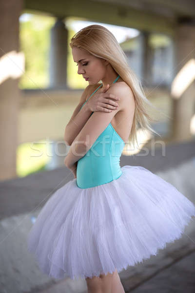 Graceful ballerina in the industrial background Stock photo © bezikus