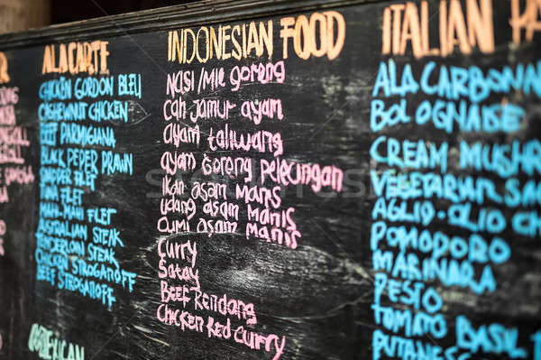 Blackboard menu opschrift kleurrijk zwarte Stockfoto © bezikus