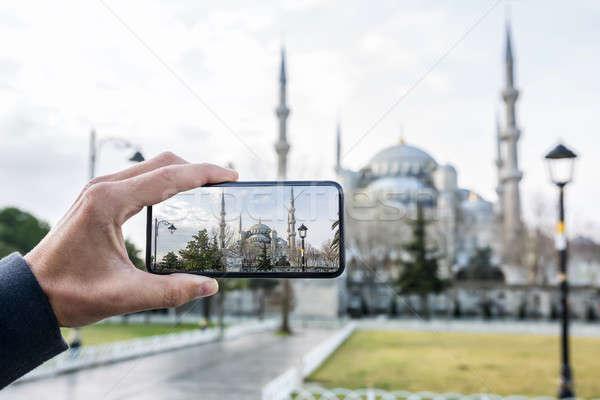 известный синий мечети Стамбуле мужчины стороны Сток-фото © bezikus