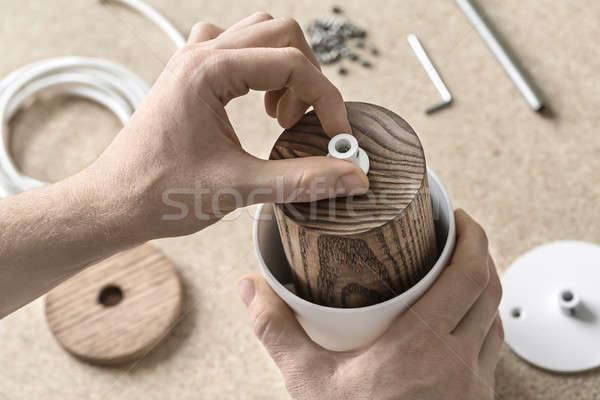 Lamp workshop man witte detail houten Stockfoto © bezikus