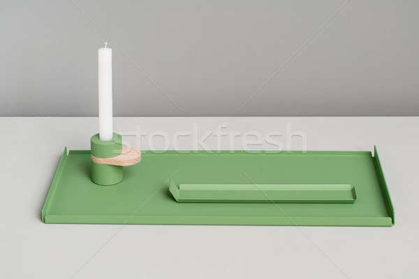 Metal green supports and candlestick Stock photo © bezikus