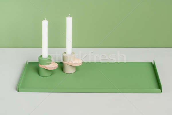 Metal green support and candlesticks Stock photo © bezikus