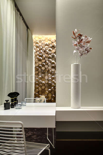 Tabletop with mirror and flower in vase Stock photo © bezikus