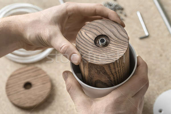 Lamp assembling in workshop  Stock photo © bezikus
