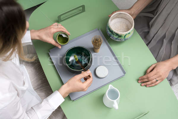 Verde chá meninas chinês chá verde Foto stock © bezikus