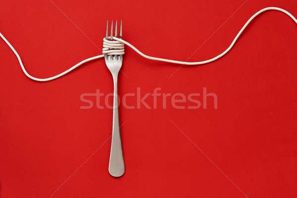 Vork kabel witte rond staal Rood Stockfoto © bezikus
