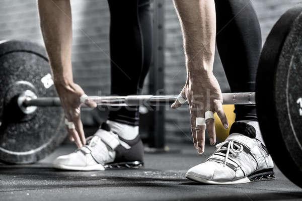 ストックフォト: バーベル · トレーニング · クローズアップ · 手 · 男 · 脚