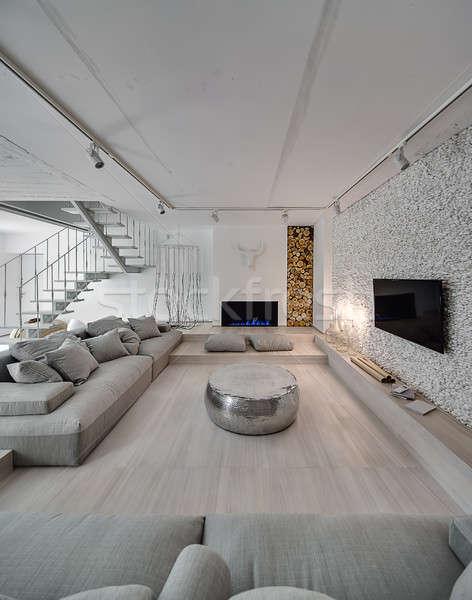 Interni stile moderno contemporanea bianco muri stair Foto d'archivio © bezikus