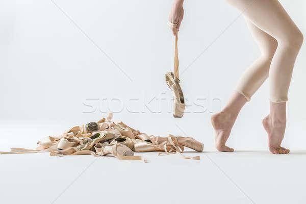 Ballet dancer legs and pointe shoes Stock photo © bezikus