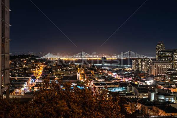 Noche paisaje urbano San Francisco asombroso iluminado California Foto stock © bezikus