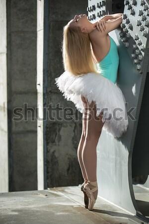 Elegante bailarina industrial blanco puente nina Foto stock © bezikus