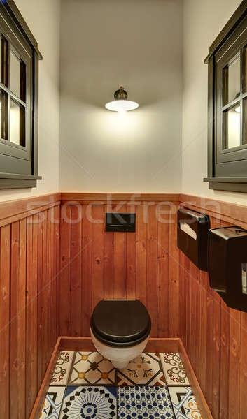 Wc mexikói étterem toalett részben fából készült Stock fotó © bezikus