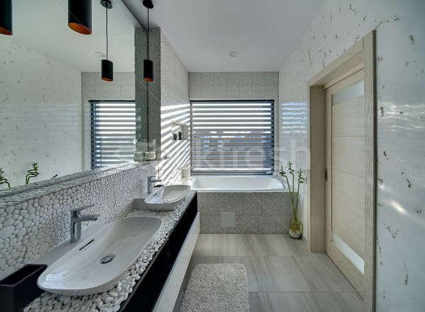 Banyo modern tarzda ışık dekore edilmiş çakıl banyo Stok fotoğraf © bezikus