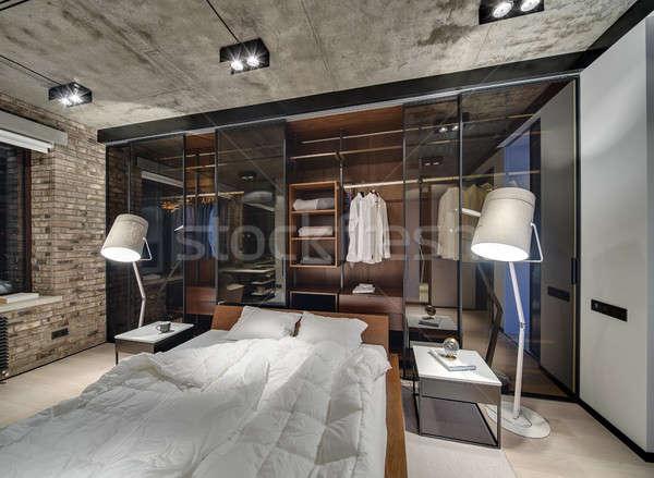 Hálószoba padlás stílus téglafal beton plafon Stock fotó © bezikus