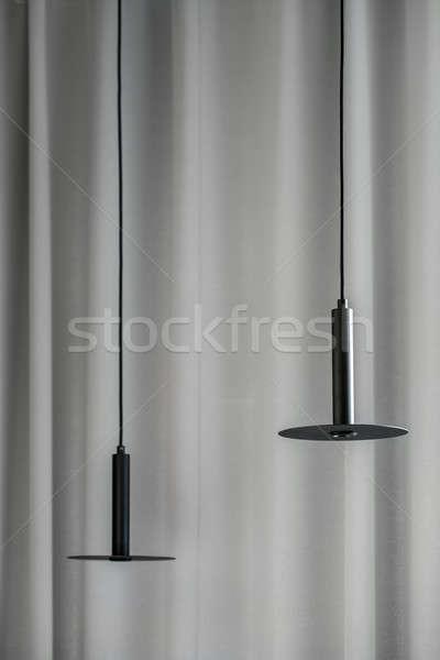 Negro metálico lámparas colgante gris cortina Foto stock © bezikus